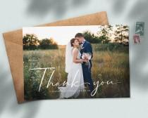 wedding photo - Personalised Photo Postcard with Envelopes, Rustic Wedding Thank You Cards, Thank You Cards with Big Photo, Simple Wedding Thank You #085