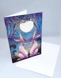 wedding photo - The Lovers Hare greetings card, blank inside, moon gazing hare design, ideal for wedding, civil partnership, engagement, woodland art