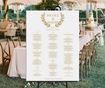 wedding photo - Alphabetical wedding seating chart, alphabetical printable seating plan gold seating chart DIGITAL, wedding or baby shower seating chart