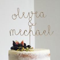 wedding photo - Couple's Name Cake Topper, Wedding Cake Topper, Gold Name Topper, Wire Cake Topper, Custom Cake Topper, Cake Topper Letter