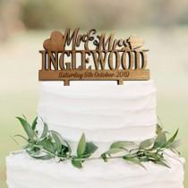 wedding photo - Personalised Wedding Cake Topper - Mr & Mrs Calligraphy Cake Topper - Personalized Wooden Cake Topper for Rustic Wedding Table Decorations