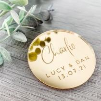 wedding photo - Gold Mirror Circle Table Names,  Personalised Place Setting, Wedding Place Name, Laser Engraved Place Card, Rose Gold, Silver