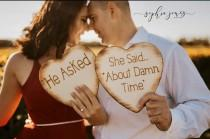 wedding photo - He Asked She Said About Damn Time Wood Hearts Set of 2 Photo Props, Engagement Photos He Asked She Said About Damn Time Photoprop