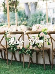 """wedding photo - Bride Groom Chair Signs -Wedding Chair Signs Bride and Groom- Wedding Decor-Please Send your phone number in the """"NOTE to the seller"""""""