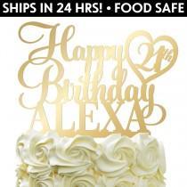 wedding photo - Custom Happy Birthday Cake Topper