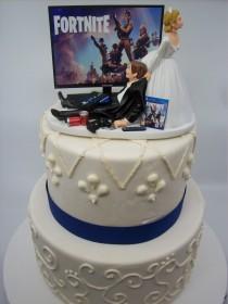 wedding photo - Summer SALE - GAMER Funny Wedding Cake Topper Video Game FORT Gaming Junkie Addict Rehearsal Groom's Bride Groom Tv Custom Game Over PS4