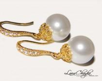wedding photo - Pearl Gold Bridal Earrings, Wedding Pearl Drop Earrings, Swarovski White Pearl Earrings, Wedding Jewelry, Pearl Dangle Earrings, Bridesmaids $23.90