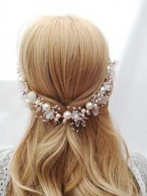 wedding photo - Bridal gold hair vine Flowers pearls vine Pearl gold wedding hair vine Floral pearl bridal headband Bride wreath with flowers and pearls