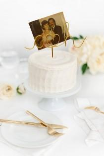 wedding photo - Rose Gold, Picture Holder, Initials Wedding Cake Topper