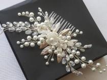 wedding photo - Bridal Pearl Hair Comb, White Pearl Crystal Headpiece, Pearl Floral Hairpiece, Wedding Hair Jewelry Bridal Hair Accessories Pearl Hair Piece $31.90