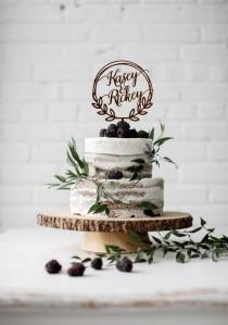 wedding photo - Two names wedding cake topper, Wreath cake topper with names, Bride & Groom names topper for wedding cake, Personalised Wooden cake topper