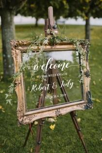 wedding photo - Wedding Welcome Sign /Personalized Couples Names and Dates/Mirror Decal-Bridal Shower/Wedding Welcome Sign/Heart Wedding Mirror Vinyl Decal