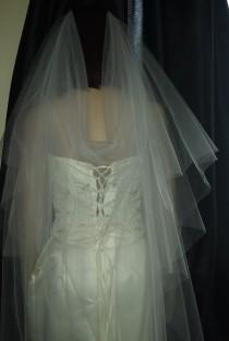 """wedding photo - Soft Bridal Boho Wedding Veil Drape style 2 tiers Wide 72"""" Ivory Pale Ivory or White Choice of accents. 42""""or 90"""" lengths to Cathedral 108"""""""