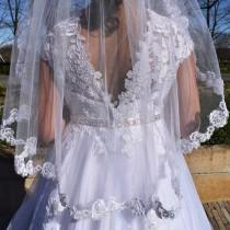 wedding photo - First Communion Veil, Lace Edge Veil, One Tier Lace Edge Veil, Children Girl's First Communion Veil, Lace Edge Communion Veil