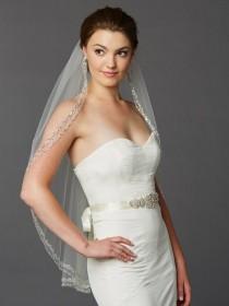 wedding photo - Glamorous Beaded Swarovski Crystal Fingertip Wedding Veil