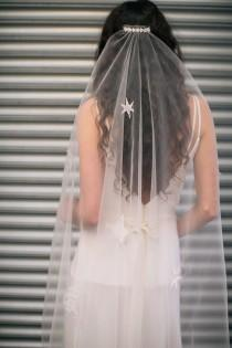 wedding photo - Veil in tulle handstiched with stars and moons. Boho veil. Bridal veil. Celestial veil. Star veil