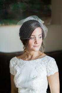 wedding photo - Birdcage Veil, Short Veil, Wedding Veil, Blusher Veil, Voilette, Wedding Headpiece, Bridal Headpiece, Bridal Veil- Style 204- Anabelle