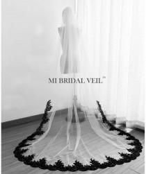 wedding photo - Black Lace Veil, Cathedral Wedding Veil, Lace Wedding Veil, Wedding Veil Lace from Mid Way, Bridal Veil Cathedral, Mi Bridal Veil, Hand Made