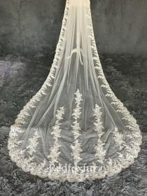 wedding photo - Cathedral Bridal Veil Lace veil Wedding veil 1Tiers Veil Bridal gift Floral veil Long veil White veil Comb veil Custom veil