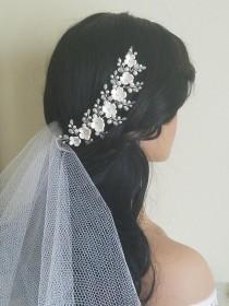 wedding photo - Wedding Hair Vine, White Pearl Hair Piece, Bridal Floral Headpiece, Bridal White Flower Wreath, Wedding Pearl Hair Jewelry, Bridal Hair Vine $25.00