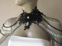 wedding photo - Black Lace Wedding Shoulder, Necklaces Jewelry, Wedding Dress, Bridal Epaulettes, crystal shoulder, black pearl  gothic shoulder necklaces
