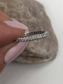 wedding photo - 0.50 Carat Diamond Full Eternity Wedding Band in 10k White Gold, Round Cut Diamond Stacking Infinity Diamond Ring, Pave Set Women's Ring