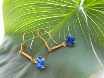 wedding photo - Earrings Blue StoneTenderness Shining 1980s
