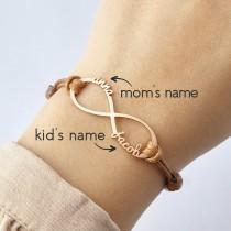 wedding photo - Mom Bracelet, Infinity Bracelet With Name, Kids Name Bracelet For Mom, Personalized Mom Gift, Mother Daughter Jewelry, Mother Bracelet