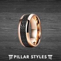 wedding photo - 18K Rose Gold Meteorite Ring Mens Wedding Band Tungsten Ring, Rose Gold Wedding Band Mens Ring, Black Meteorite Ring Unique Rose Gold Ring