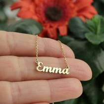 wedding photo - 14k Solid Gold Name Necklace-Personalized Jewelry-Gift For Her-Initial Necklace-Name Necklace-Personalized Name Necklace-JX11
