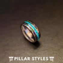 wedding photo - Abalone Ring with Green Opal Wedding Band  Mens Ring - Silver Opal Ring Mens Wedding Band Tungsten Ring Abalone Shell Ring Unique Mens Ring