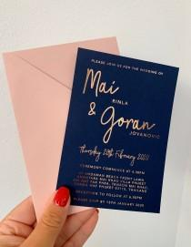 wedding photo - Foil Wedding invitation set rose gold silver gold light pink