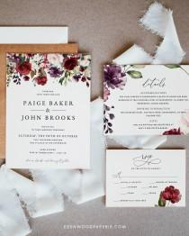 wedding photo - Burgundy Wedding Invitation Template, Floral Wedding Invitation Suite Download, Printable Burgundy Wedding Invitation Set Download, #004