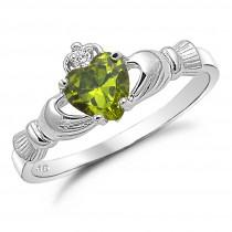 wedding photo - Claddagh Ring, August Birthstone Irish Claddgh Ring, Peridot CZ Birsthstone Claddagh Ring, Sterling Silver Traditional Irish Claddagh Ring