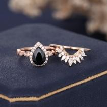 wedding photo - 2PCS Pear shaped Black Onyx engagement ring set diamond Rose Gold Halo marquise cut Curved Moissanite Wedding women Anniversary gift for her