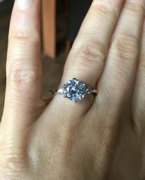 wedding photo - Trilogy Diamond Engagement Ring 2 carat solitaire various sizes trilogy 3 stone Man-made diamond diamond stimulant