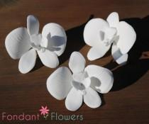 wedding photo - Beautiful Handmade Sugar Butterfly Orchids - White - Elegant Wedding Cake Toppers