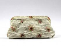 wedding photo - Corde Beaded Handbag - 50s White and Pink Floral Clutch - Vintage 1950s Wedding Purse