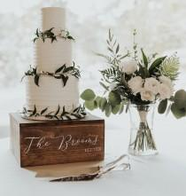 wedding photo - Wooden Wedding Cake Stand with customized name and date