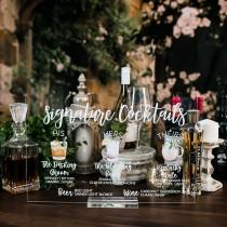 wedding photo - Bar Menu Signature Cocktails Custom Clear Glass Look Acrylic Wedding Sign With Stand, His Her Drinks Lucite Perspex Bar Table Sign HL-SC1