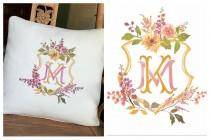 wedding photo - Watercolor Wedding Crest or Logo turned into embroidery, embroidered wedding logo, monogrammed wedding pillow