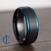 wedding photo - Mens Wedding Band, Mens Ring, Mens Wedding Ring, Male Wedding Band, Blue Ring, Black Ring, Engraved Ring, Unique Wedding Band, 8MM Wide