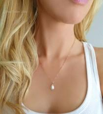 wedding photo - Pearl Teardrop Necklace Rose Gold, Single Pearl Necklace Pendant, Simple Freshwater Pearl Bridal Necklace, Bridesmaid Jewelry Gift