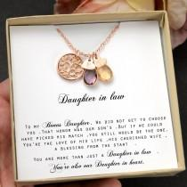 wedding photo - Daughter-In-Law Gift Necklace,Wedding Gift,Jewelry From Mother-In Law,Gift for Bride,birthstone necklace,personalized necklace ,family tree
