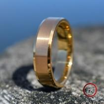 wedding photo - Tungsten Ring Brushed Gold with Bevelled Edges and Comfort fit band, Mens Ring, Mens Wedding Band