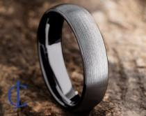 wedding photo - Mens Tungsten Wedding Band, Tungsten Ring Brushed Silver, Mens Wedding Band Black 6mm wide, Promise Ring, Rings for Men, Rings for Women