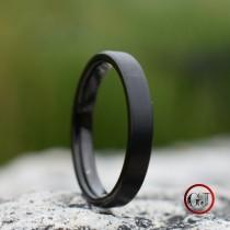 wedding photo - Tungsten Ring 4mm Brushed Black Comfort fit band, Mens Ring, Mens Wedding Band