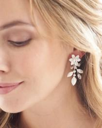 wedding photo - Floral Bridal Earrings,Crystal Wedding Earrings,Floral Jewelry,Crystal Jewelry,Rhinestone Earrings,Dangle Earrings, Bridal ~JE-4156