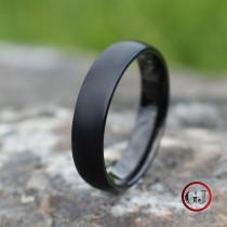 wedding photo - Black Brushed Tungsten 6mm Ring with Black Polished Inner Band, Mens Ring, Mens Wedding Band