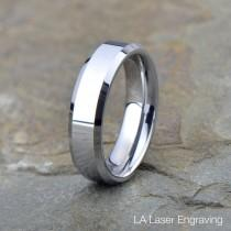 wedding photo - Tungsten Wedding Band, Polished Tungsten Ring, Beveled Edge, Comfort Fit, Ring, Band, Anniversary Ring, Free Laser Engraving, 6mm